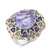 Lavender Quartz, Multi Gemstone 14K YG and Platinum Over Sterling Silver Statement Ring (Size 9.0) TGW 21.74 cts.