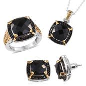 Thai Black Spinel 14K YG and Platinum Over Sterling Silver Ring (Size 6), Stud Earrings and Pendant With Chain (20 in) TGW 32.900 cts.