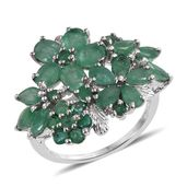 Kagem Zambian Emerald Platinum Over Sterling Silver Ring (Size 6.0) TGW 5.900 cts.