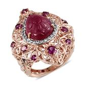 Royal Jaipur Niassa Ruby (FF), Multi Gemstone 14K RG Over Sterling Silver Ring (Size 7.0) TGW 15.17 cts.