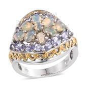 Ethiopian Welo Opal, Tanzanite 14K YG and Platinum Over Sterling Silver Ring (Size 6.0) TGW 3.580 cts.