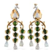 Ethiopian Welo Opal, Russian Diopside 14K YG and Platinum Over Sterling Silver Chandelier Earrings TGW 6.20 Cts.