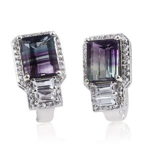 Bi-color Fluorite, White Topaz Platinum Over Sterling Silver Latch Back Earrings TGW 10.24 cts.
