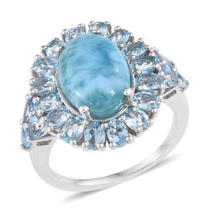 Larimar, Electric Blue Topaz Platinum Over Sterling Silver Ring (Size 7.0) TGW 11.620 cts.
