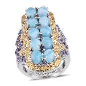 Larimar, Tanzanite 14K YG and Platinum Over Sterling Silver Openwork Elongated Ring (Size 6.0) TGW 11.87 cts.