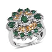 Kagem Zambian Emerald, White Topaz 14K YG and Platinum Over Sterling Silver Statement Ring (Size 9.0) TGW 2.960 cts.
