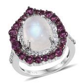 Jewel Studio by Prachi Sri Lankan Rainbow Moonstone, Orissa Rhodolite Garnet, White Topaz Platinum Over Sterling Silver Ring (Size 10.0) TGW 9.800 cts.