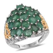 Kagem Zambian Emerald, White Topaz 14K YG and Platinum Over Sterling Silver Ring (Size 9.0) TGW 5.250 cts.