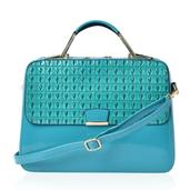 J Francis - Turquoise Vegan Leather Top Handle Satchel with Foral Interior (13x5x10 in)