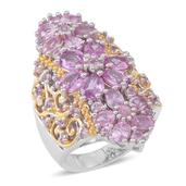 Madagascar Pink Sapphire 14K YG Over and Sterling Silver Elongated Ring (Size 10.0) TGW 6.150 cts.