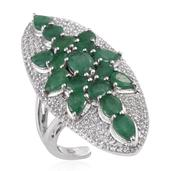 Kagem Zambian Emerald, White Topaz Platinum Over Sterling Silver Ring (Size 7.0) TGW 7.080 cts.