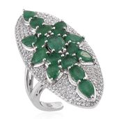 Kagem Zambian Emerald, White Topaz Platinum Over Sterling Silver Ring (Size 8.0) TGW 7.080 cts.