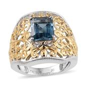 London Blue Topaz 14K YG and Platinum Over Sterling Silver Openwork Ring (Size 7.0) TGW 2.300 cts.
