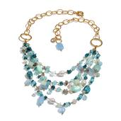 Multi Gemstone 14K YG Over Sterling Silver Necklace (20 in) TGW 290.00 cts.