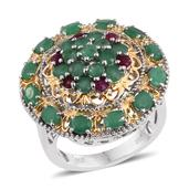 Kagem Zambian Emerald, Ruby 14K YG and Platinum Over Sterling Silver Ring (Size 7.0) TGW 4.230 cts.