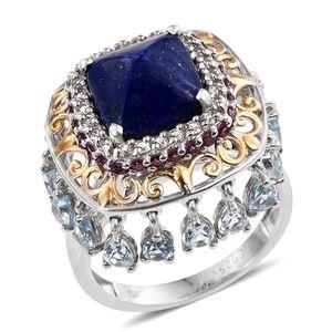 Lapis Lazuli, Sky Blue Topaz, Orissa Rhodolite Garnet 14K YG and Platinum Over Sterling Silver Ring (Size 6.0) TGW 9.20 cts.