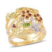 Treasures from the Orient Multi Gemstone 14K YG Over Sterling Silver Ring (Size 6.0) TGW 0.510 cts.