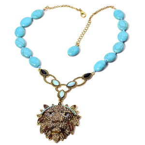 Blue Howlite, Champagne, Black and Brown Austrian Crystal, Blue Glass Goldtone Necklace (20 in) TGW 107.00 cts.