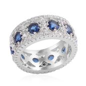 Simulated Blue Diamond (Rnd), Simulated Diamond Ring in Silvertone (Size 9.0) TGW 8.960 cts.