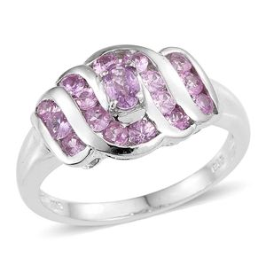 Madagascar Pink Sapphire Platinum Over Sterling Silver Ring (Size 8.0) TGW 1.400 cts.