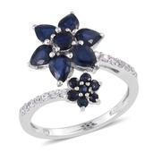Kanchanaburi Blue Sapphire, White Zircon Platinum Over Sterling Silver Floral Ring (Size 7.0) TGW 2.760 cts.