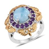 Larimar, Amethyst, White Topaz 14K YG and Platinum Over Sterling Silver Ring (Size 8.0) TGW 6.43 cts.
