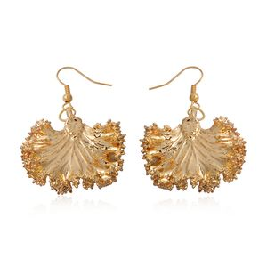 Nature's D'Or Kale Leaf Dipped in 24K YG Earrings