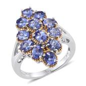 Tanzanite 14K YG and Platinum Over Sterling Silver Split Ring (Size 9.0) TGW 4.65 cts.