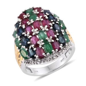Multi Gemstone 14K YG and Platinum Over Sterling Silver Ring (Size 8.0) TGW 8.66 cts.