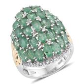 Kagem Zambian Emerald, White Topaz 14K YG and Platinum Over Sterling Silver Ring (Size 6.0) TGW 6.560 cts.