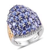 Tanzanite, White Topaz 14K YG and Platinum Over Sterling Silver Cluster Ring (Size 5.0) TGW 7.71 cts.