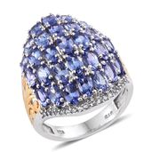 Tanzanite, White Topaz 14K YG and Platinum Over Sterling Silver Cluster Ring (Size 7.0) TGW 7.71 cts.