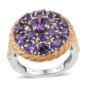 KARIS Collection - Simulated Purple Diamond ION Plated 18K YG and Platinum Bond Brass Ring (Size 8.0) TGW 9.050 cts.