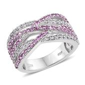 Niassa Pink Sapphire, White Topaz Platinum Over Sterling Silver Criss Cross Ring (Size 7.0) TGW 1.870 cts.