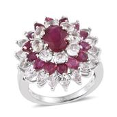 Niassa Ruby, White Topaz Platinum Over Sterling Silver Ring (Size 9.0) TGW 10.850 cts.