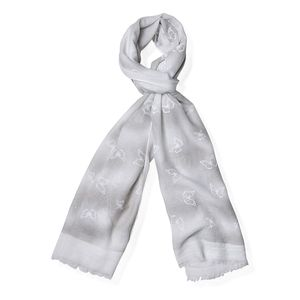 Gray 70% Viscose and 30% Polyester Scarf (71x25 in)