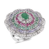 Kagem Zambian Emerald, Multi Gemstone Platinum Over Sterling Silver Statement Ring (Size 7.0) TGW 5.400 cts.
