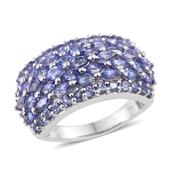 Tanzanite 14K YG and Platinum Over Sterling Silver Cluster Ring (Size 6.0) TGW 4.800 cts.