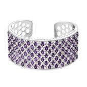 Amethyst, White Topaz Platinum Over Sterling Silver Cuff TGW 26.35 Cts.