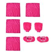 8 Piece Rose Microfiber Cleaning Set (4 Microfiber Towels, 2 Dust Slippers, 2 Dust Mitts)