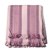 Purple Blue Chevron and Stripes Cotton Fringe Throw (50x60 in)