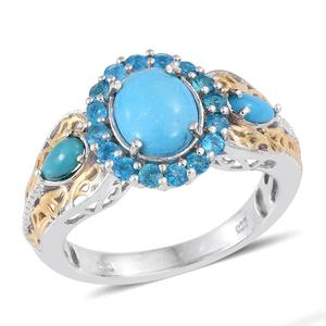 Arizona Sleeping Beauty Turquoise, Malgache Neon Apatite 14K YG and Platinum Over Sterling Silver Ring (Size 8.0) TGW 2.120 cts.