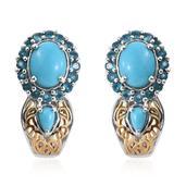 Arizona Sleeping Beauty Turquoise, Malgache Neon Apatite 14K YG and Platinum Over Sterling Silver J-Hoop Earrings TGW 4.140 cts.