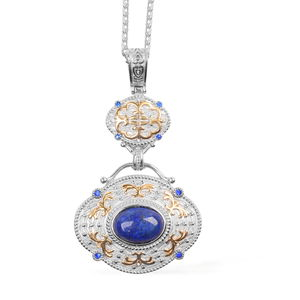 Lapis Lazuli, Austrian Crystal ION Plated YG and Stainless Steel Pendant With Chain (20 in) TGW 21.500 cts.