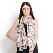 J Francis - White and Rose 100% Natural Bamboo Fabric Scarf (80x30 in)
