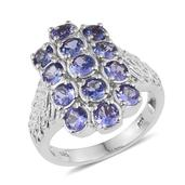 Tanzanite Platinum Over Sterling Silver Ring (Size 8.0) TGW 3.500 cts.