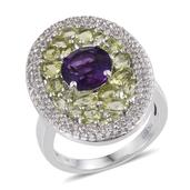Amethyst, Hebei Peridot, White Topaz Platinum Over Sterling Silver Elongated Ring (Size 10.0) TGW 6.51 cts.