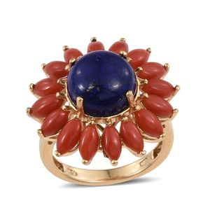 Lapis Lazuli, Mediterranean Coral 14K YG Over Sterling Silver Ring (Size 7.0) TGW 11.20 cts.