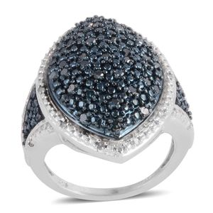 Blue Diamond (IR), Diamond Platinum Over Sterling Silver Ring (Size 6.5) TDiaWt 0.50 cts, TGW 0.50 cts.