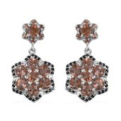 Jenipapo Andalusite, Thai Black Spinel Platinum Over Sterling Silver Earrings TGW 5.48 cts.